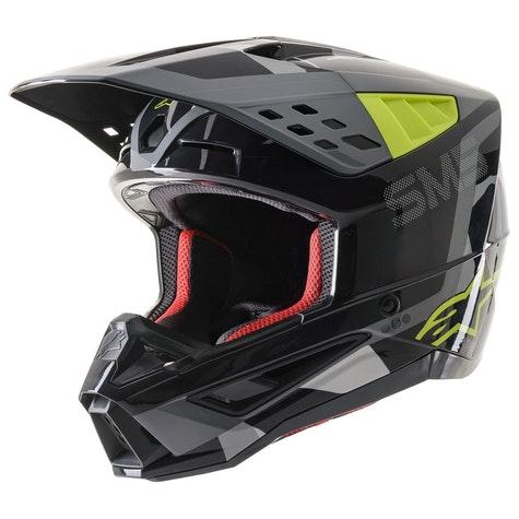 Alpinestars Supertech S-M5 Rayon Matt Light Grey Black Silver Helmet