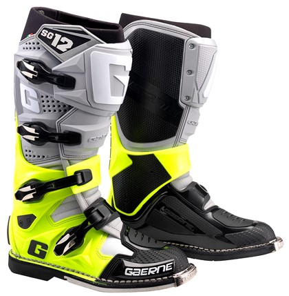 Gaerne SG12 Grey Yellow Black Motocross Boots