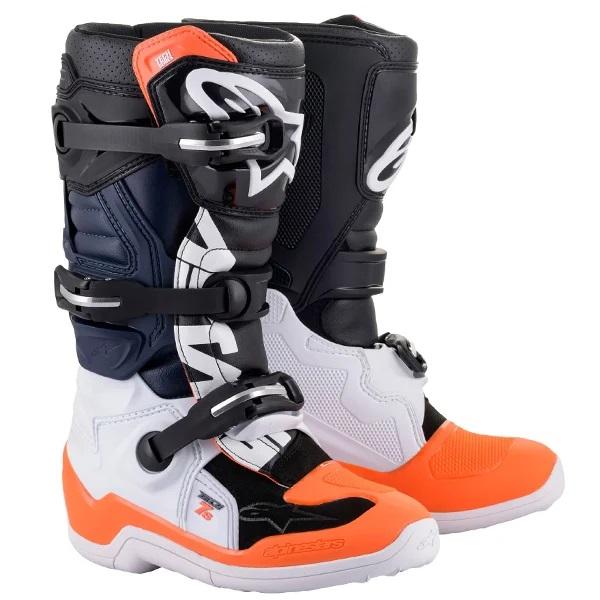 Alpinestars Kids Tech 7S Black White Orange Fluo Boots