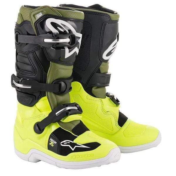 Alpinestars Kids Tech 7S Fluo Yellow Military Green Black Boots